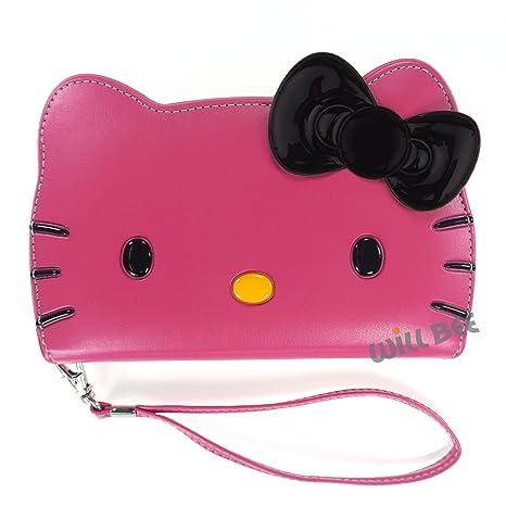 Carcasa de estilo cartera de piel sintética, diseño de Hello Kitty