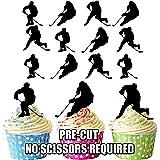 vorgeschnittenen Eishockey Silhouetten–Essbare Cupcake Topper/Kuchen Dekorationen (12Stück)