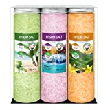 Nortembio Sales de Epsom Pack 3 x 430 g. Fragancias de Vainilla, Rosas, Limón. Hidratadas con Vitamina C y E. Sales de…