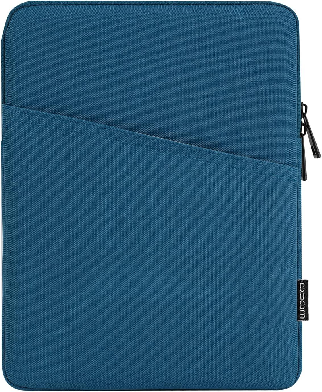 MoKo 9-11 Inch Tablet Sleeve Case Fits iPad Pro 11 2021/2020/2018, iPad 8th 7th Generation 10.2, iPad Air 4 10.9, iPad Air 3 10.5, iPad 9.7, Galaxy Tab A 10.1, Polyester Bag with Pocket, Peacock Blue