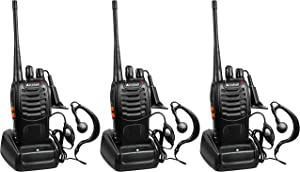Arcshell Rechargeable Long Range Two-Way Radios with Earpiece 3 Pack UHF 400-470Mhz Walkie Talkies Li-ion Battery and Charger Included