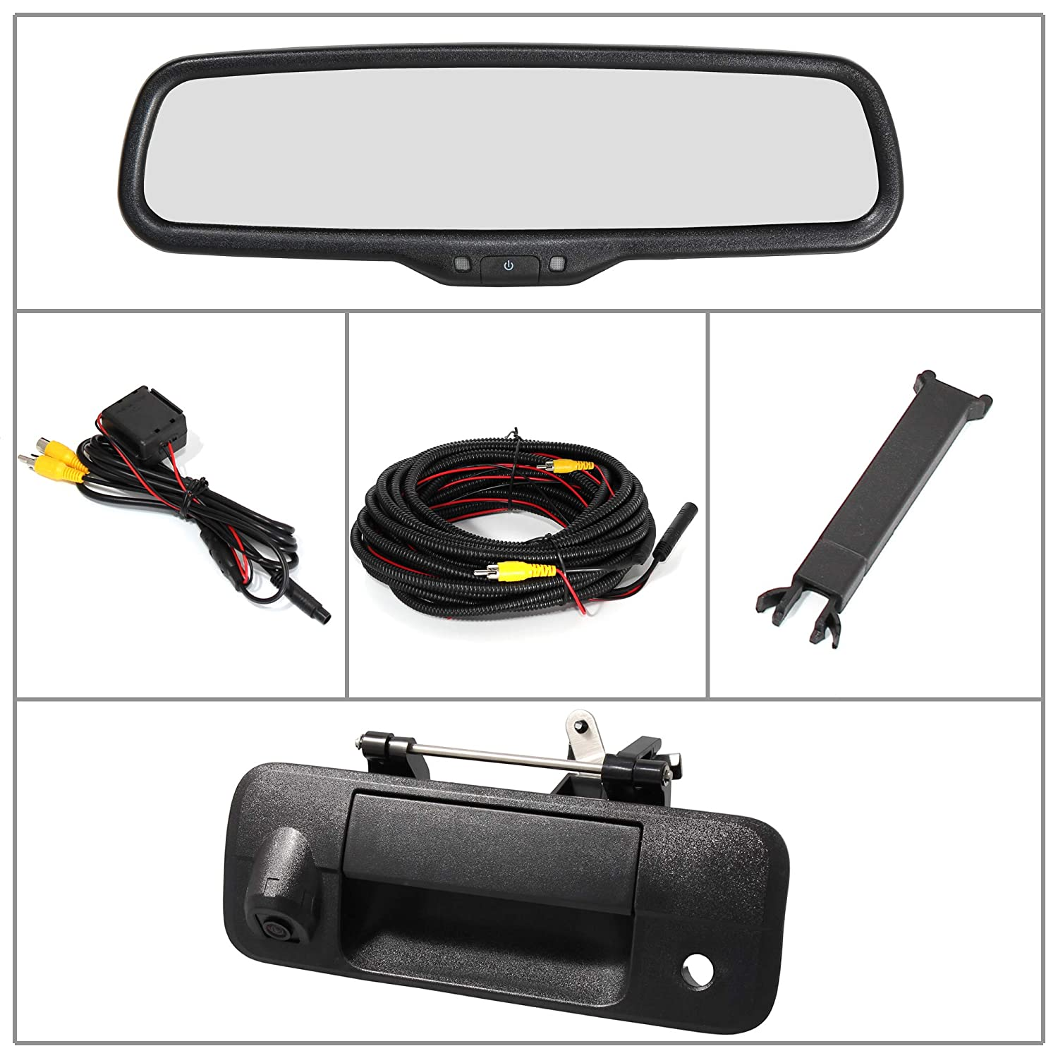 Eway for Toyota Tundra 2010-2014 4.3 Rear View Mirror Monitor with Tailgate Handle Backup Camera Kit Parking IR Waterproof CCD Reverse Reversing Night Vision Car Safety Backing Auto Cameras