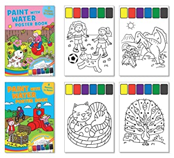 Amazon.com: Childrens Paint with Water Poster Books - Set of 2 Books ...