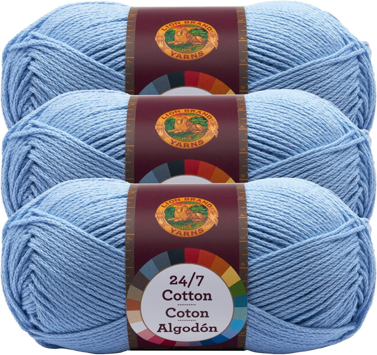 Pack of 3 skeins Lion Brand Yarn 761-150 24-7 Cotton Yarn Charcoal