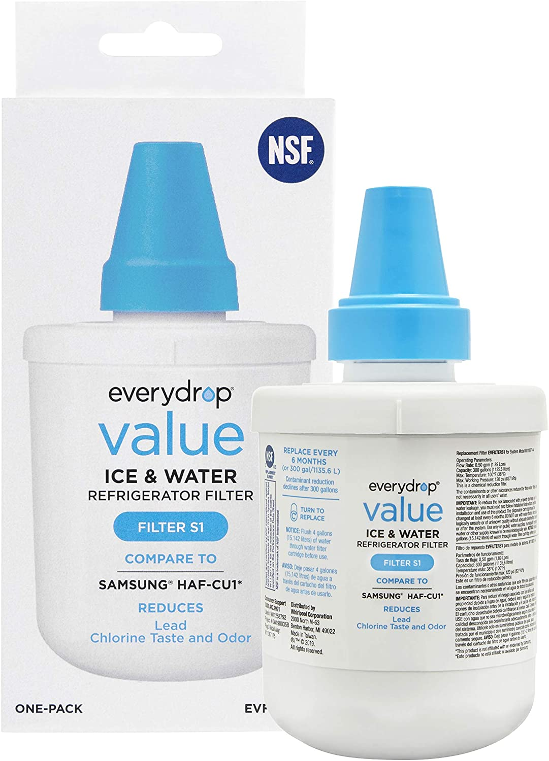everydrop EVFILTERS1 replacement for Samsung DA29-00003G Refrigerator Water Filter, 1 Pack