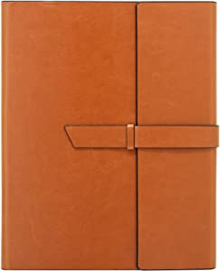 Gallaway Leather Padfolio Portfolio Folder -fits Letter Legal A4 Notebooks Notepads - Organizer Notebook Holder Case for Executives Salesmen Professionals Interview Folio - Brown
