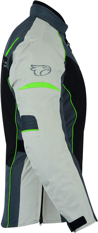 JET Blouson Veste Moto Femme Imperm/éable avec Protection Textile Rochelle Bleu, M EU 38