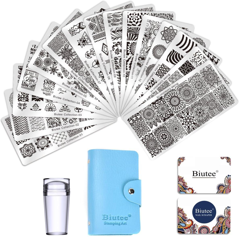 Biutee Estampacion Uñas 15 Placas de Stamping + 1 Sello de Silicona +2 Rascador +1 Bolsa de Almacenamiento(el Color Azar)