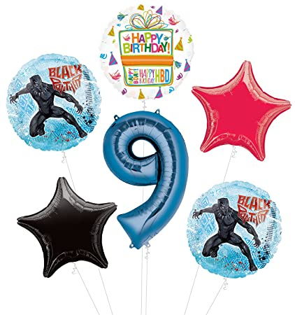 86fb8ac9b28 Amazon.com: Black Panther 9th Birthday Party Supplies Balloon ...