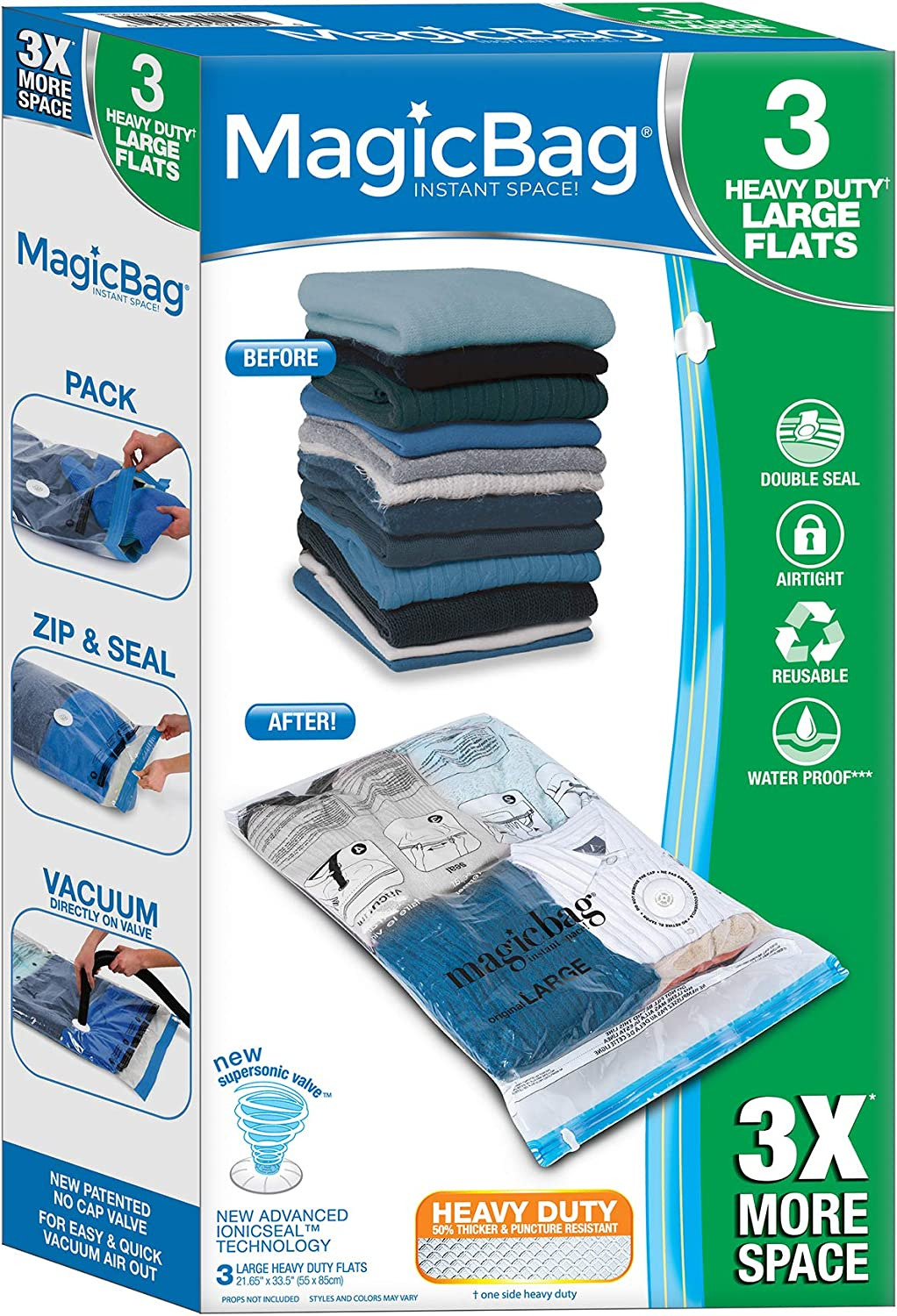 Smart Design MagicBag Instant Space Saver Storage - Flat Heavy Duty Large - Airtight Double Zipper - Vacuum Seal - Clothing, Pillows - Home Organization - (3 Bags)