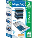 Smart Design MagicBag Instant Space Saver Storage - Flat Heavy Duty Large - Airtight Double Zipper - Vacuum Seal - Clothing,