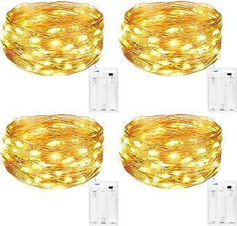 Oferta amazon: Kolpop Guirnalda Luces Pilas, Luces LED Pilas[4 PCS], Luces LED Habitacion 5m 50 LED Luces de Cadena Micro con Pilas de Alambre de Cobre para Decoración Interior Bodas Fiesta de Navidad           [Clase de eficiencia energética A+++]