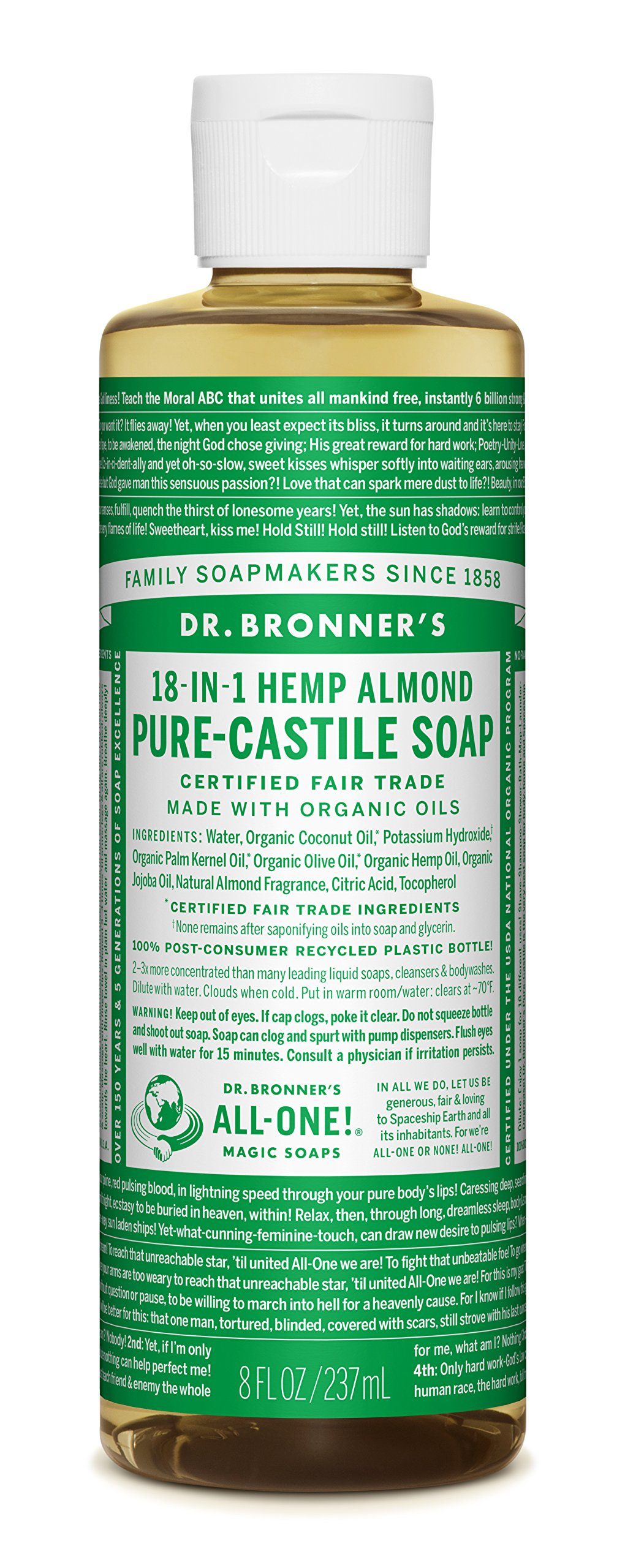 Dr. Bronner Pure-Castile Liquid Soap - Almond, 8 Ounce