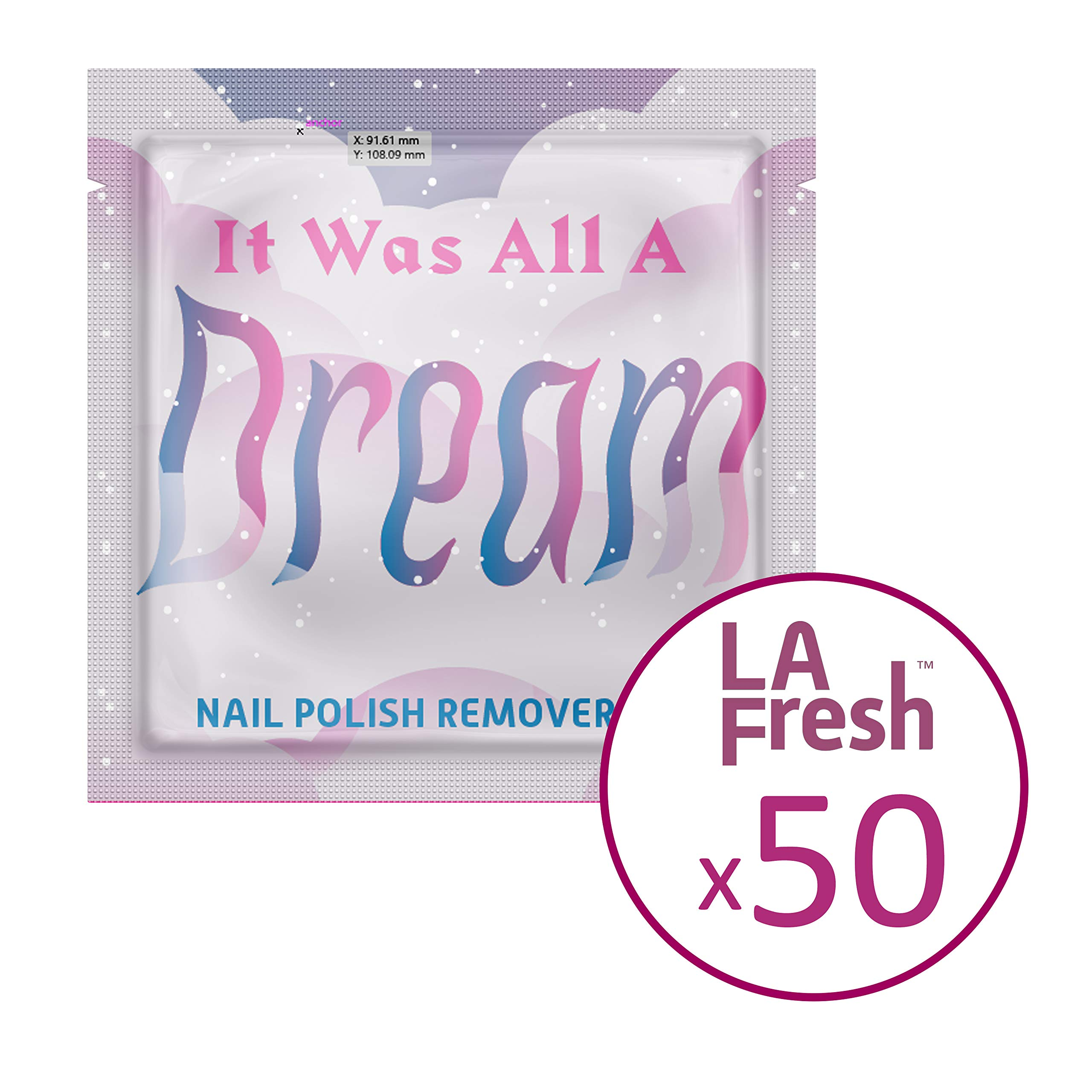 LA Fresh Classic Nail Polish Remover pads, disposable pre-soaked pads in individually sealed packet TSA Pre-approved - Pack of 50 packets by La Fresh