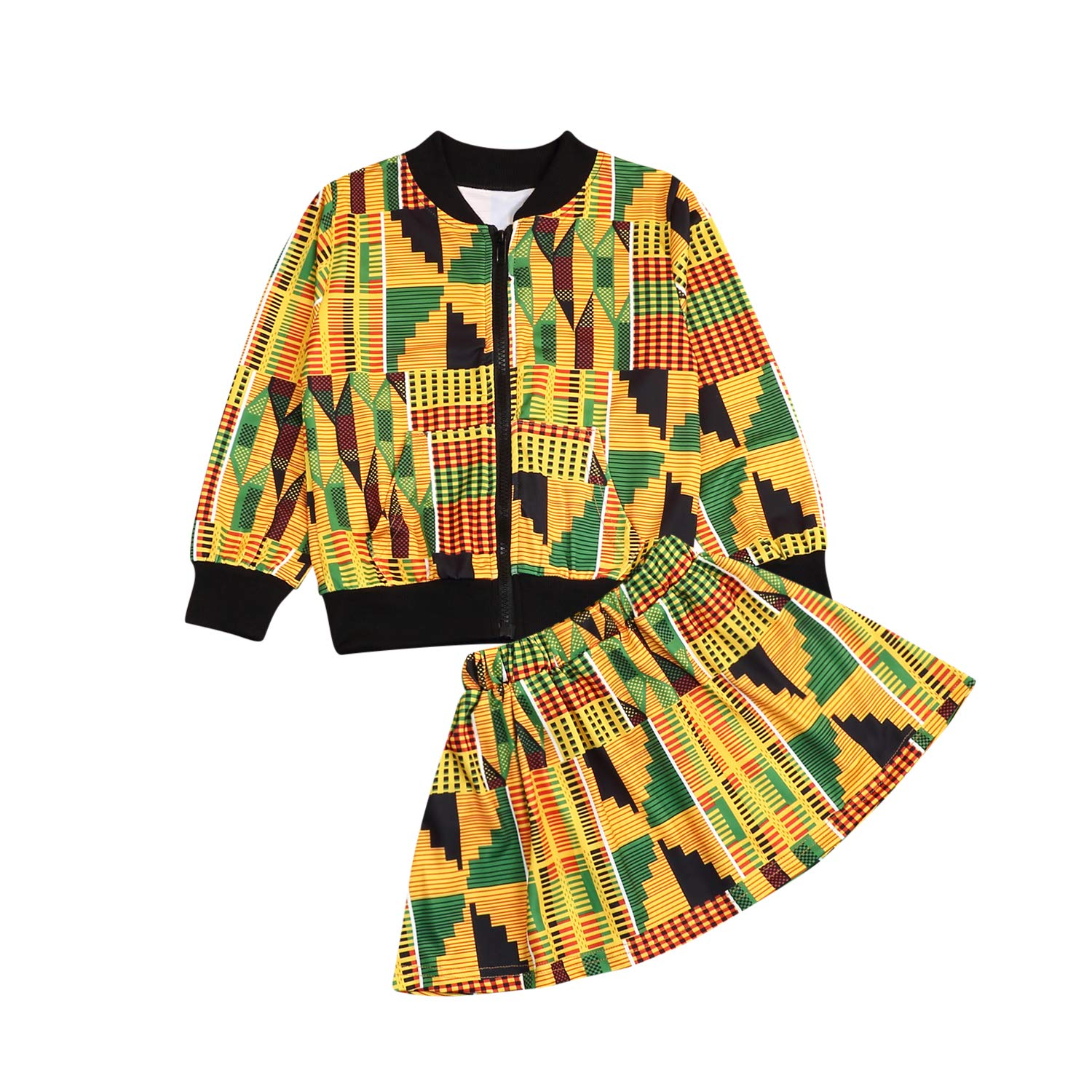 Toddler Baby Little Girls Fall Outfit Boho Print African Jackets Coat with Skirt 2Pcs Dashiki Clothes Set