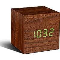 Cube Walnut Click Clock Green LED