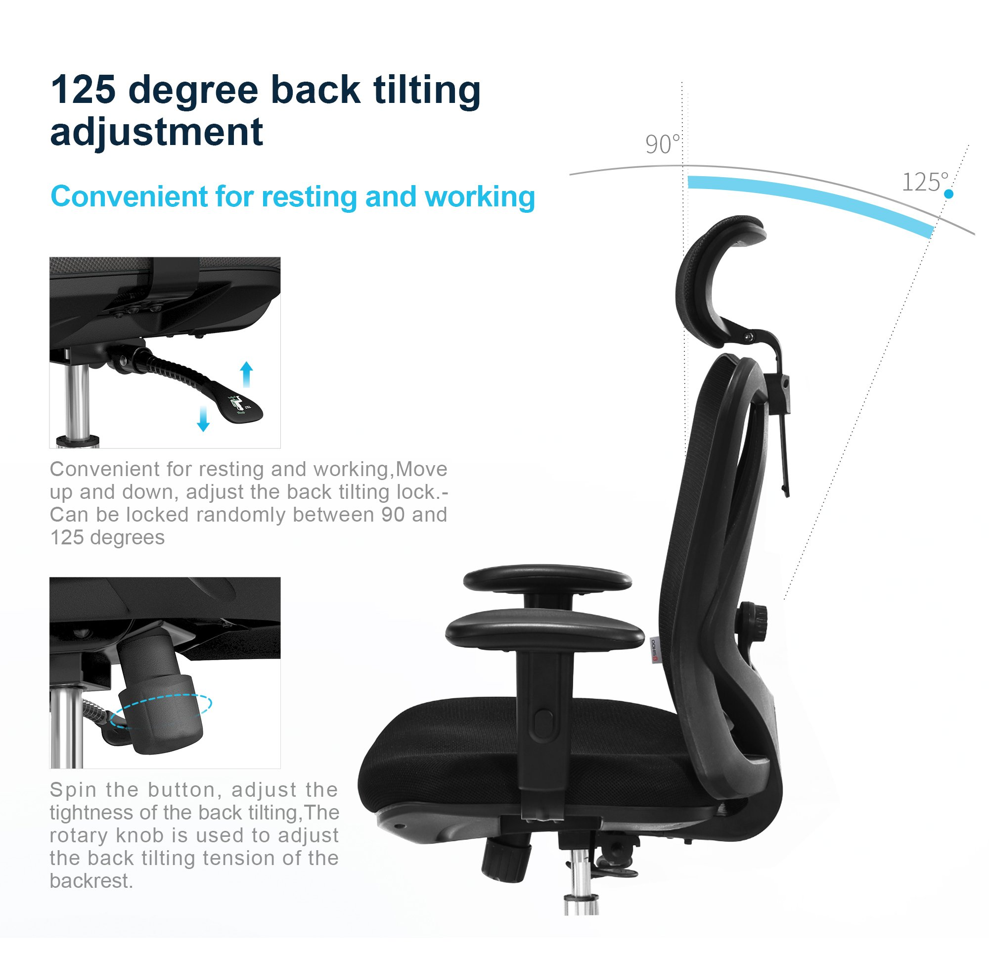 Sihoo Ergonomics Office Chair Computer Chair Desk Chair, Adjustable Headrests Chair Backrest and Armrest's Mesh Chair (Black) by SIHOO (Image #3)