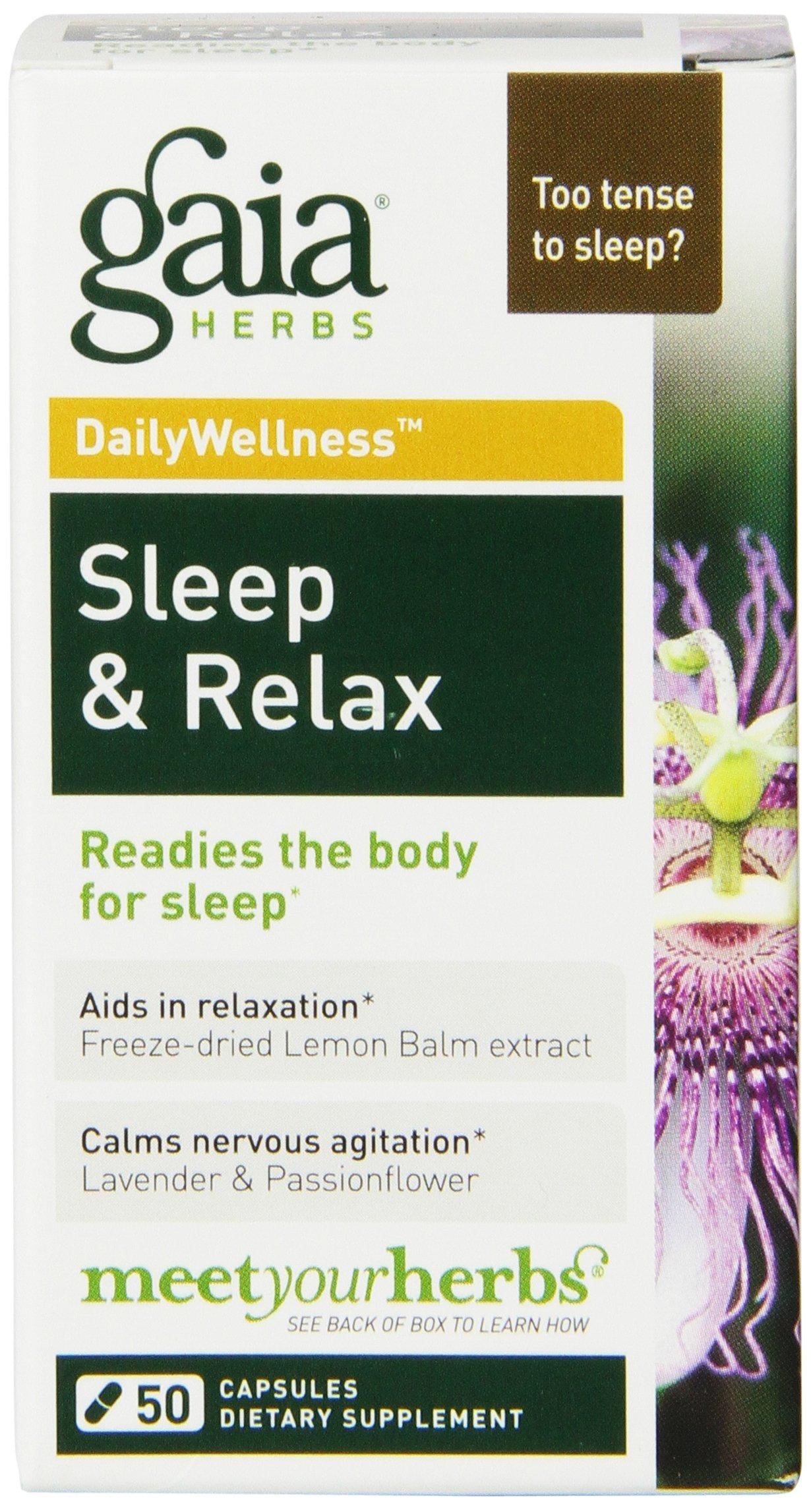 Gaia Herbs Sleep & Relax, 50 Vegan Capsules - Natural Sleep Aid, Calms the Mind & Promotes Deep Sleep, Non-Habit Forming, Valerian Root, Lemon Balm Extract, USDA Organic