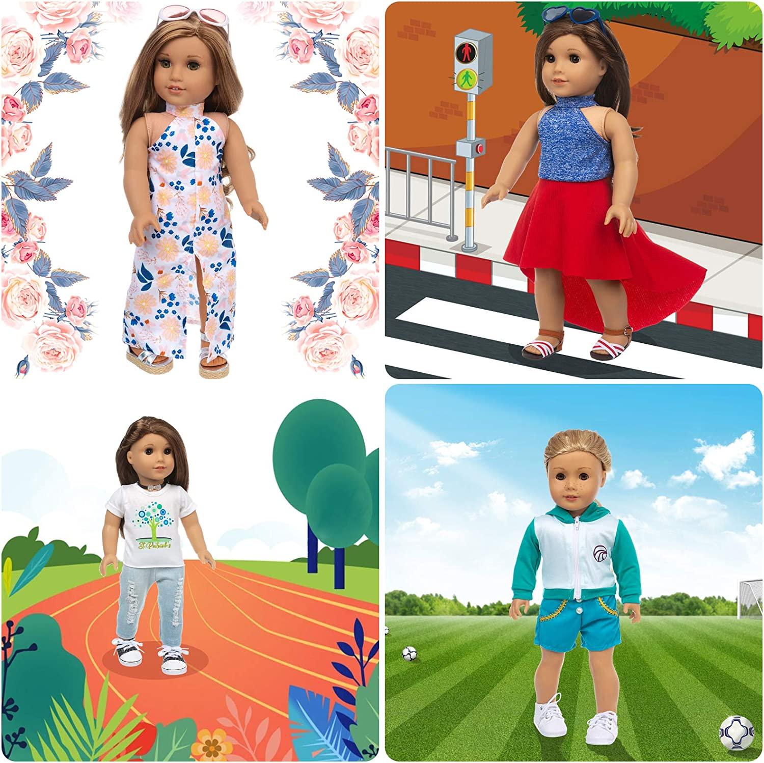 Our Generation Doll My Life Doll Ecore Fun 10 Sets American 18 Inch Doll Clothes and Accessories Doll Outfits Pajamas Dresses Hair Clips and Sunglasses Fit for American Doll