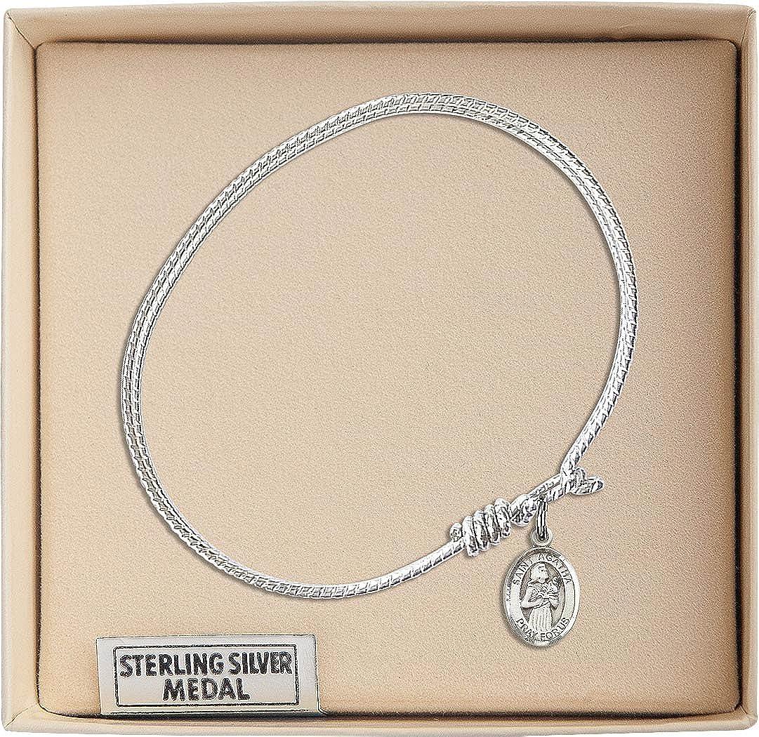 Agatha in Sterling Silver Bonyak Jewelry Oval Eye Hook Bangle Bracelet w//St