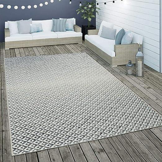 Outdoor Rug Blue White Balcony Terrace Diamond Pattern Scandinavian Design