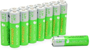 LIMELINEN AA Rechargeable Batteries - Ni-MH (2600 mAh / 1.2V), High-Capacity, Pre-Charged, CASE (16 Count)