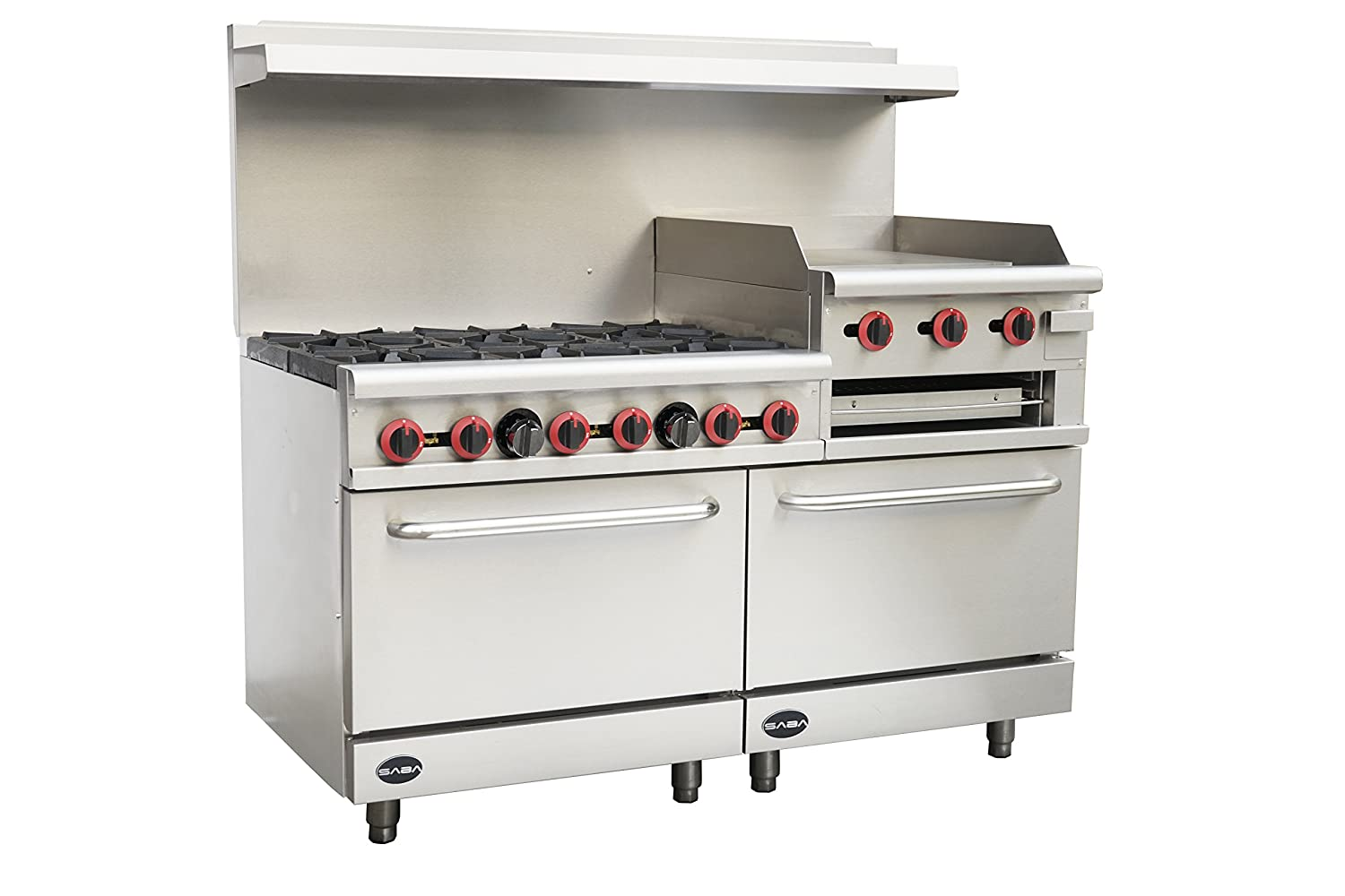 "Heavy Duty Commercial 60"" Gas 6 Burner Range with 24"" Gas Griddle, Broiler & Bottom Oven"