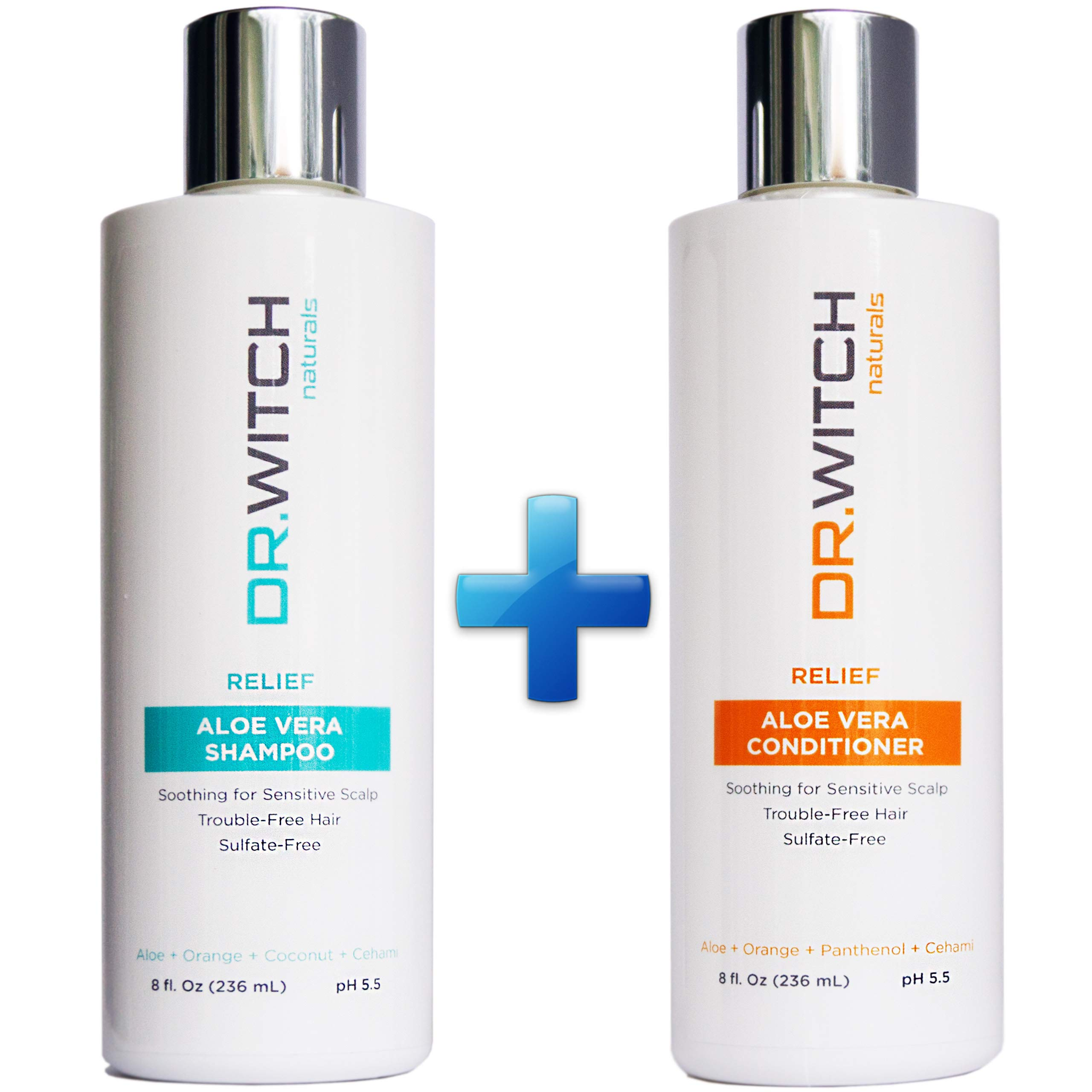 Scalp Relief, Hair Growth Shampoo & Conditioner Set. Natural Ingredients for Sensitive, Dry, Itchy Scalp. Vegan, Sulfate Free & pH balanced for Hair Regrowth, Thickening. Safe for Color Treated Hair by Dr.Witch