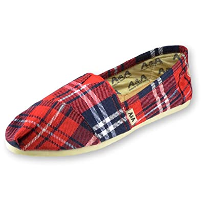 A&A Red and Blue Plaid Canvas Slip-on Casual Flat Shoes Alpargatas for Women (