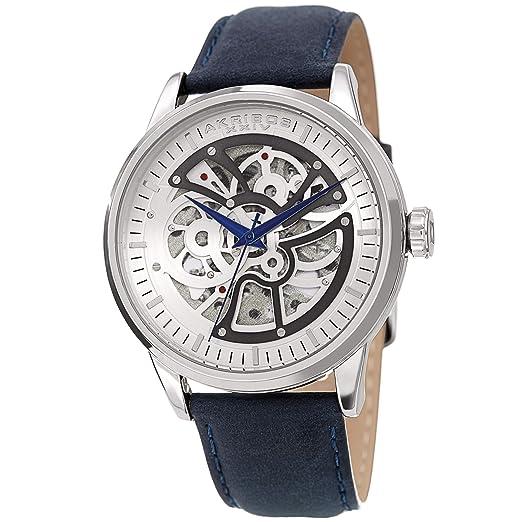 Akribos XXIV Skeleton - Reloj de pulsera para hombre, correa de piel auténtica, acabado mate, reloj mecánico automático con esfera: Amazon.es: Relojes