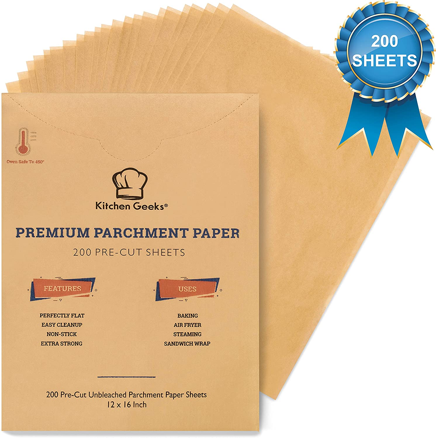 Parchment Paper Baking Sheets Unbleached Non-Stick Precut 12x16 Inches Will Not Curl Pack of 200