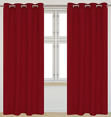 LJ Home Fashions Karma Cotton Like Grommet Curtain Panels Set of 2 54×95-in, Red