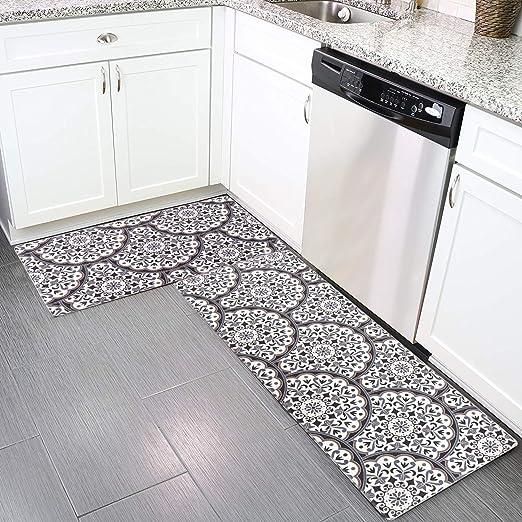 2 Pieces Anti Fatigue Non Slip Waterproof Kitchen Floor Runner Set Kitchen Rug and Mat Set Thick Cushioned Comfort Standing Mats