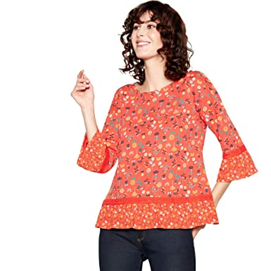 a8358e3e529ef0 Mantaray Womens Red Floral Print Lace Trim Cotton Top  Mantaray   Amazon.co.uk  Clothing