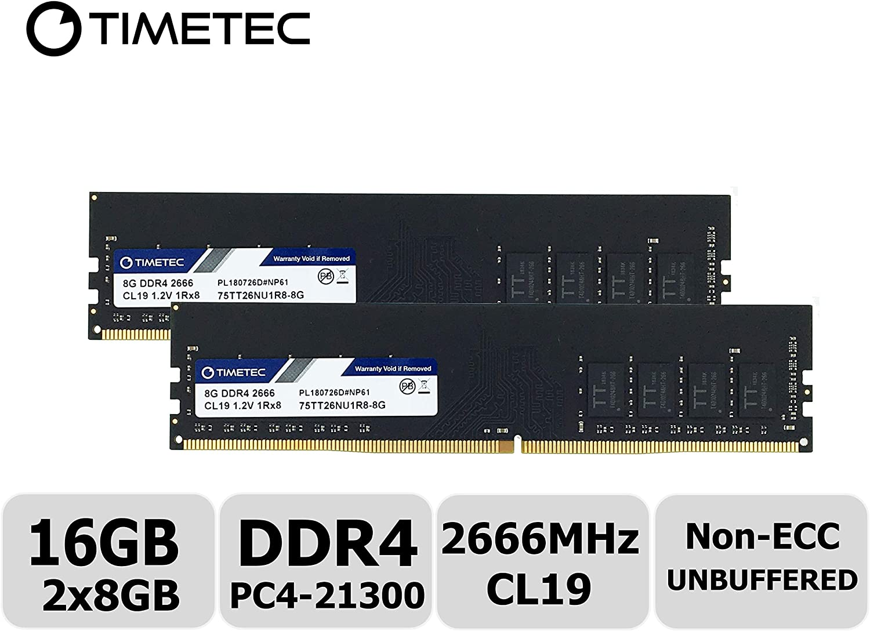 Timetec Hynix IC 16GB Kit (2x8GB) DDR4 2666MHz PC4-21300 Unbuffered Non-ECC 1.2V CL19 1Rx8 Single Rank 288 Pin UDIMM Desktop Memory RAM Module Upgrade (16GB Kit (2x8GB))