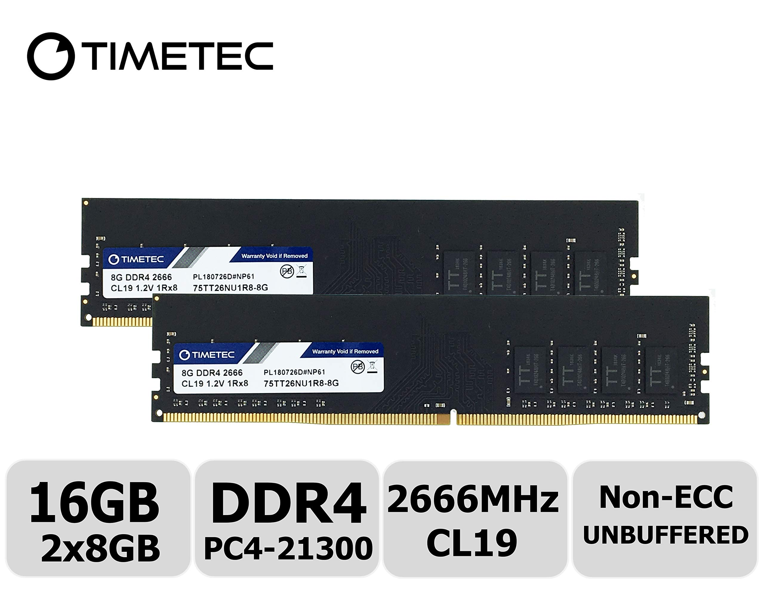 Memoria RAM 16GB Timetec Hynix IC Kit (2x8GB) DDR4 2666MHz PC4-21300 Unbuffered Non-ECC 1.2V CL19 1Rx8 Single Rank 288 P