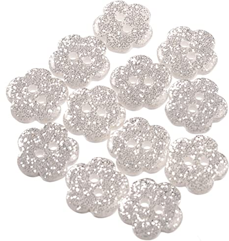 Transparent Polyester Glitter Flower Shaped  Button 2 Hole 18mm