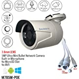Microseven 5MP (2592x1944) PoE Cloud Cam Works with Alexa, Free 24Hr Cloud & Live Streaming microseven.tv, H.265 Ultra HD Audio Built-in Mic Day&Night Outdoor Bullet IP Camera ONVIF (No Power Supply)