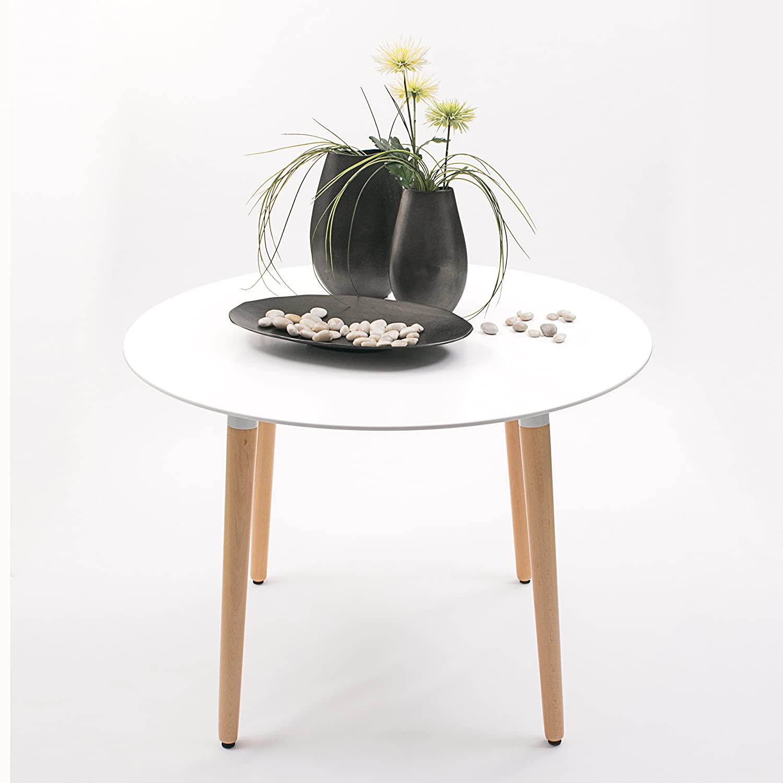Homely - Mesa de Comedor o Cocina NORDIK, Tapa lacada y Patas de Madera - Redonda 100 cm.
