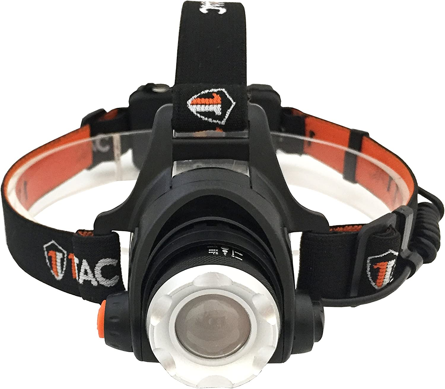 This is an image of a headlamp with orange and black-colored band, lens facing forward.