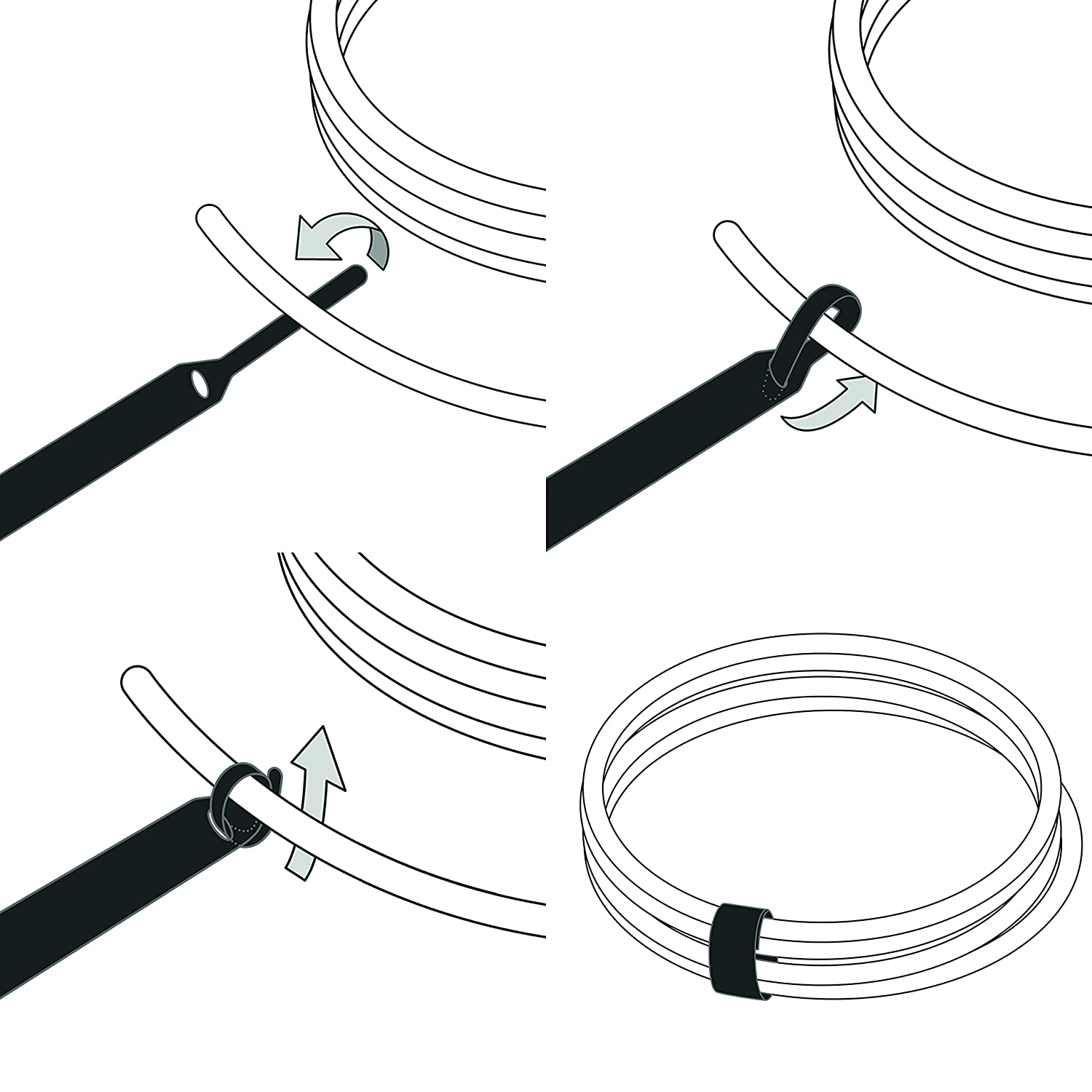 LTC 1110 10 PCS Re-Useable Hook and Loop Cable Tidy// Cord Organizer// Cable Clamp// Wire Management// Wire Ties// Cable Wrap// L: 17cm// LTC BASIC STRAPS Label-the-cable Cable Management Ties Black