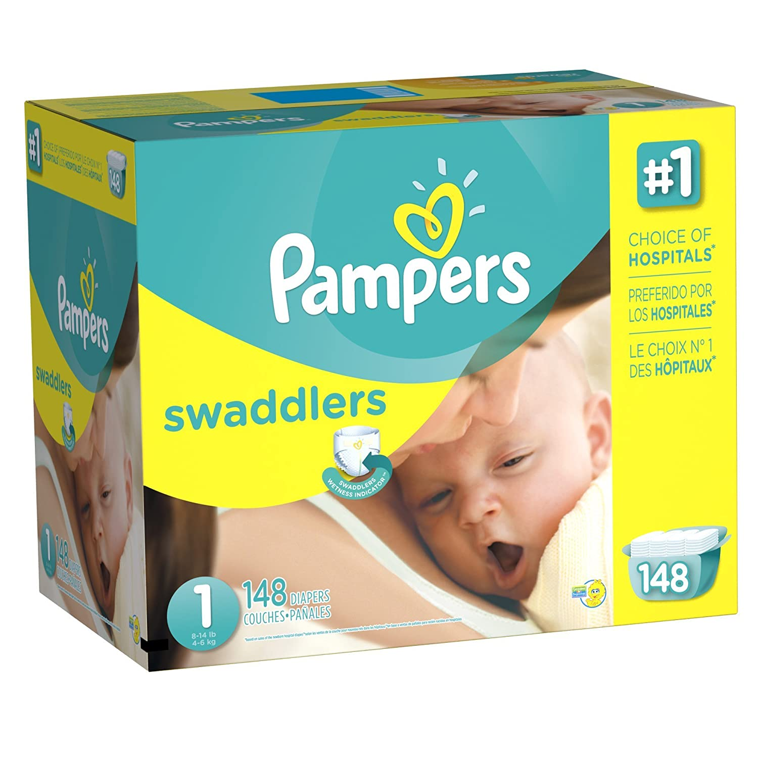 Pampers Swaddlers Diapers Giant Pack, Size 1, 148 Ct: Amazon.com: Grocery & Gourmet Food