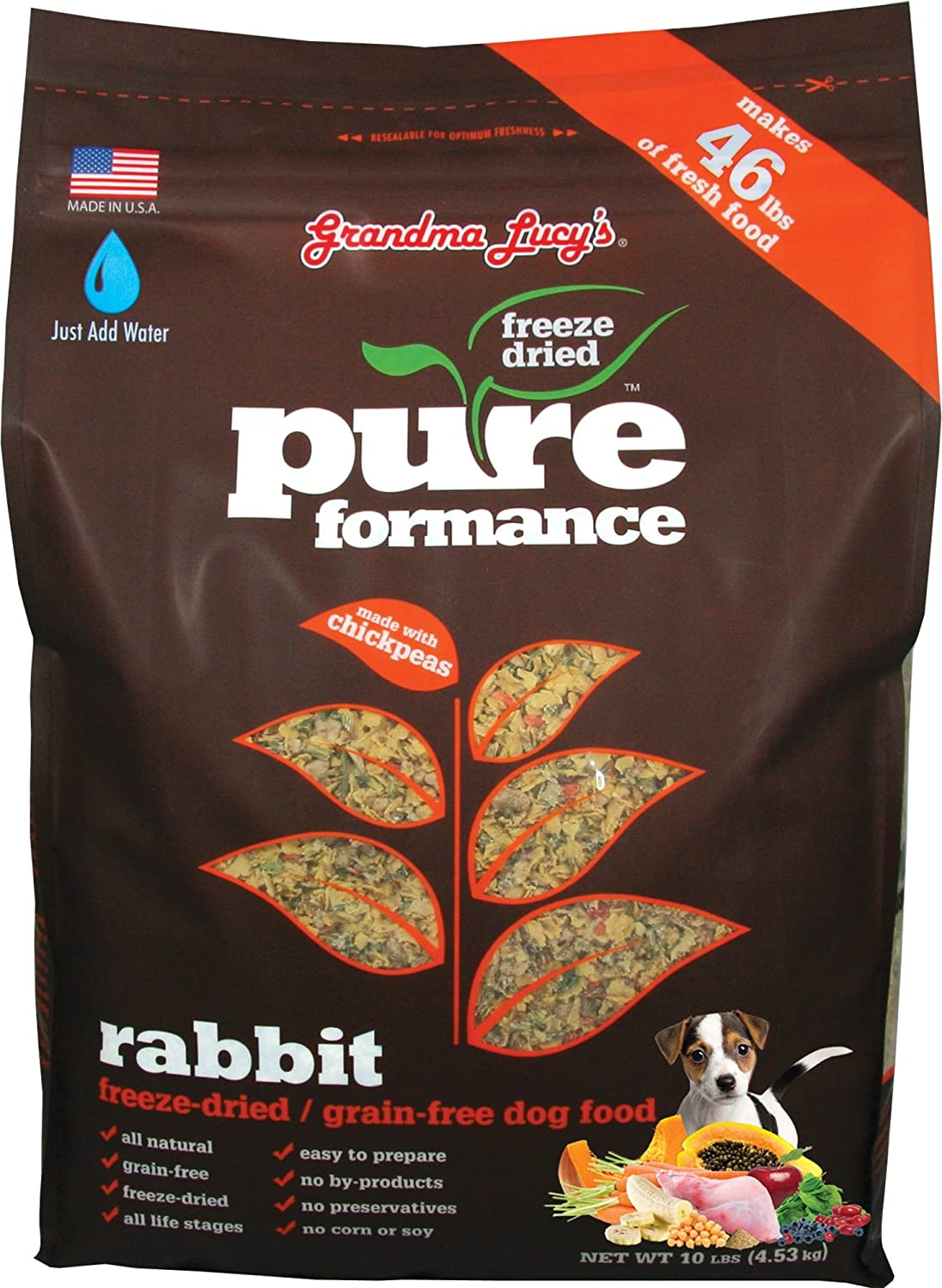 Grandma Lucy's PUREformance Dog Food, Grain Free and Freeze-Dried - Rabbit, 10 Pound Bag