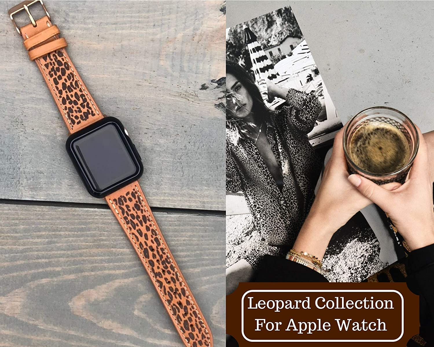 Personalized Apple Watch Band Leopard Watch Band Leather Apple Watch Band 38mm 40mm 42mm 44mm Custom Apple Watch Strap Animal Print Apple Watch