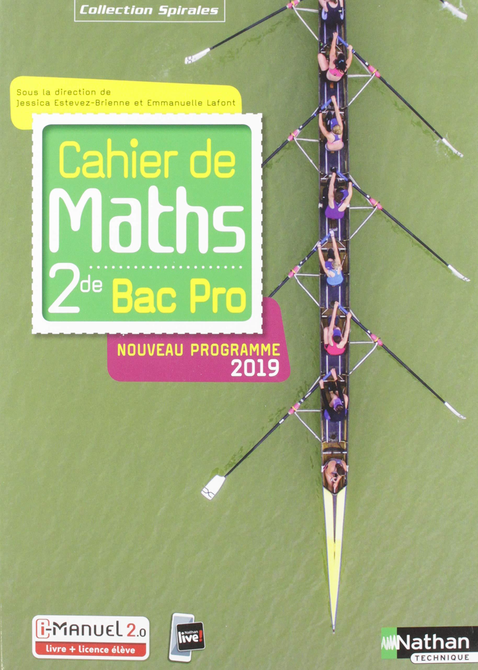 Amazon Fr Cahier De Maths 2de Bac Pro Jessica Estevez