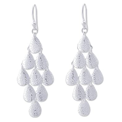 cd7721a4ffcb7 NOVICA .925 Sterling Silver Long Chandelier Earrings, Rain'