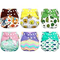 Zooawa Baby Cloth Diaper Pants, [6 Pack] Washable Training Pants Reusable Nappy Underwear Cloth Diapers Covers for Newborn Infants, Adjustable & Breathable Multi