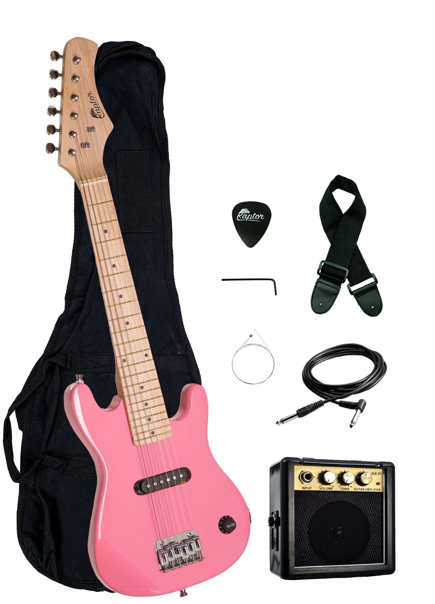 Raptor EP3 30'' Kids 1/2 Size Electric Guitar Package with Portable 3W Amp, Gig Bag, Strap, Cable and Raptor Picks - PINK