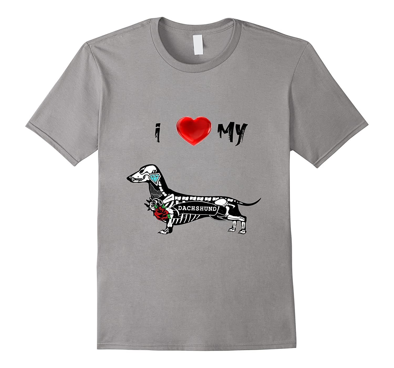I LOVE MY DACHSHUND WIENER ROSES T SHIRT LOOSE FIT-CD