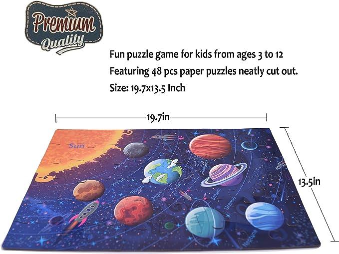 48-Piece Original Solar System Puzzle Toys for 3-12 Ages